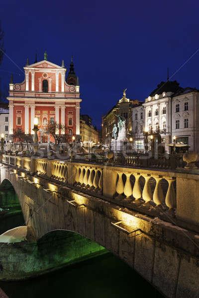 Franciscan Church and Triple Bridge  Stock photo © benkrut