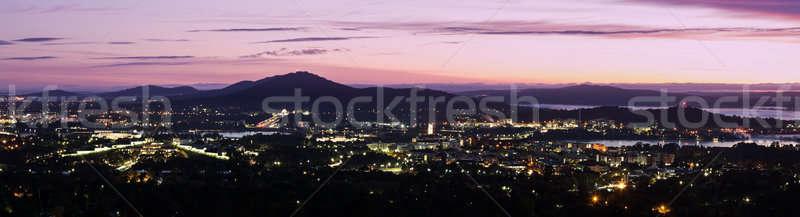 Canberra nascer do sol panorama cidade natureza ponte Foto stock © benkrut