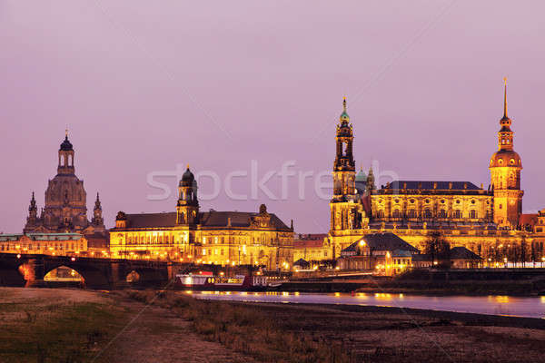 Dresden architecture across Elbe River. Dresden, Saxony, Germany Stock photo © benkrut