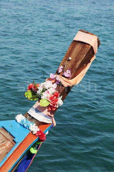 Foto stock: Largo · cola · barco · playa · Tailandia · agua