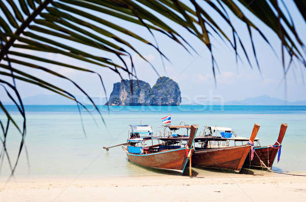 Long Tail boats on the beach Stock photo © benkrut