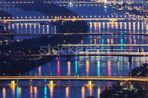 Mostów dunaj rzeki Wiedeń noc Austria Zdjęcia stock © benkrut