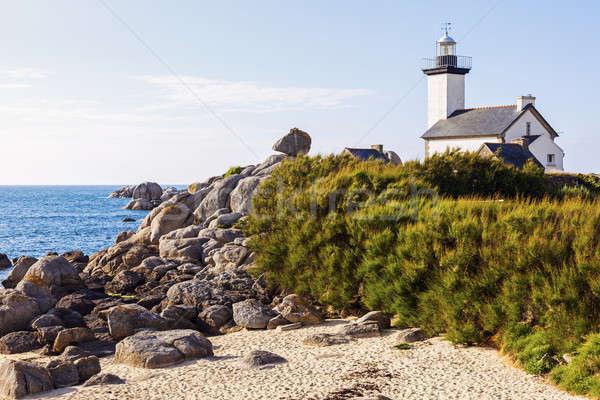Faro pomeriggio spiaggia cielo luce mare Foto d'archivio © benkrut
