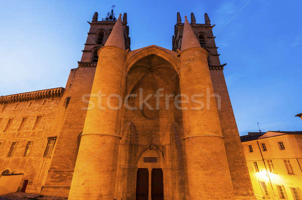 Montpellier Cathedral at sunset Stock photo © benkrut