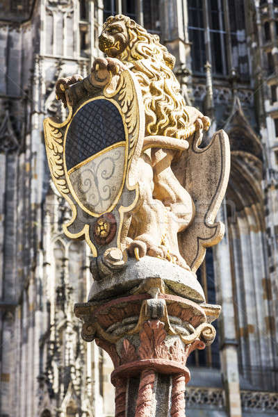 Lion Fountain and Ulm Minster Stock photo © benkrut