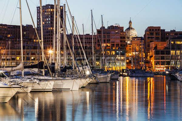 Kikötő öreg Marseille épület utazás csónak Stock fotó © benkrut