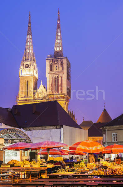Zagreb Cathedral from Dolac market place  Stock photo © benkrut