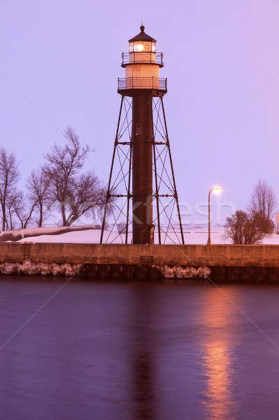 Haven zuiden vuurtoren sneeuwstorm Minnesota Stockfoto © benkrut