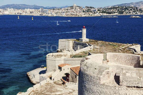 Farol ilha Marselha céu azul urbano Foto stock © benkrut