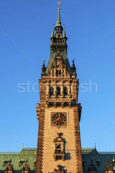 Vecchio città sala amburgo Germania clock Foto d'archivio © benkrut