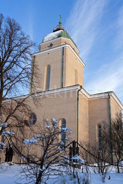 église Helsinki Finlande neige pierre Photo stock © benkrut