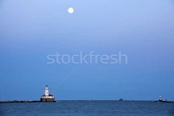 Foto stock: Lua · cheia · acima · lago · Michigan · Chicago