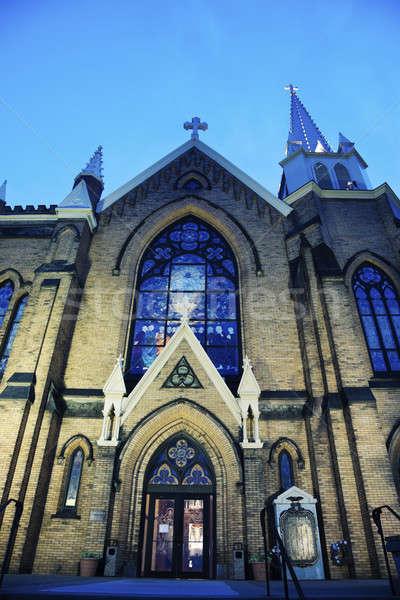 Kerk Pennsylvania Blauw avond gebouw reizen Stockfoto © benkrut