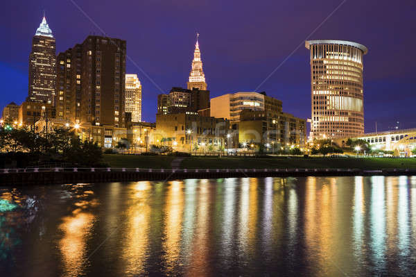 Cleveland skyline across Cuyahoga River Stock photo © benkrut