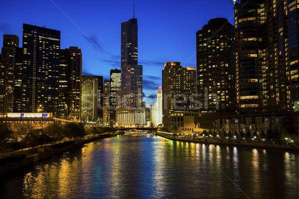 Chicago folyó éjszaka Illinois USA víz Stock fotó © benkrut