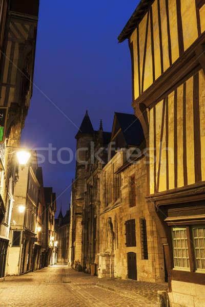 Arhitectura veche normandia casă oraş albastru călători Imagine de stoc © benkrut