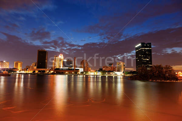 Ohio naplemente épület utazás sziluett folyó Stock fotó © benkrut