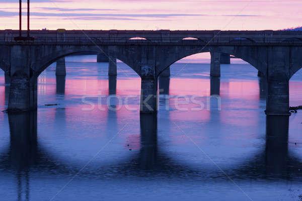 Bruggen brug rivier roze USA Stockfoto © benkrut