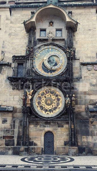 Prága csillagászati óra középkori Csehország épület Stock fotó © benkrut