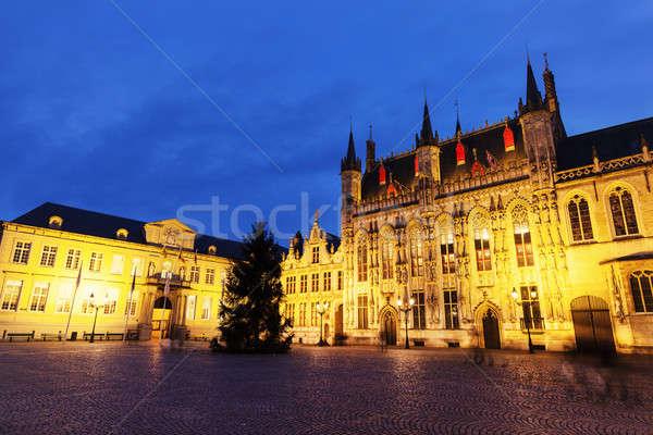 Bruges City Hall on Burg Square Stock photo © benkrut