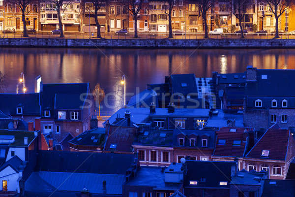 Architecture of Liege along Meuse River Stock photo © benkrut