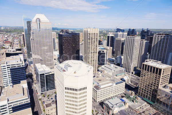 Panorama moderne calgary skyline gebouw reizen Stockfoto © benkrut
