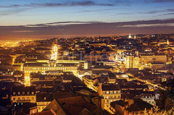 Panorama of Lisbon at sunset Stock photo © benkrut