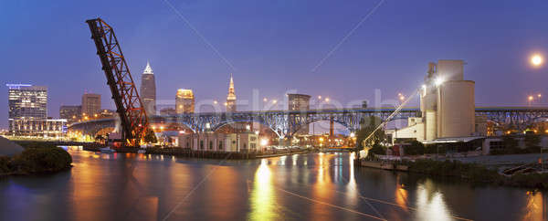 Full moon rising in Cleveland  Stock photo © benkrut