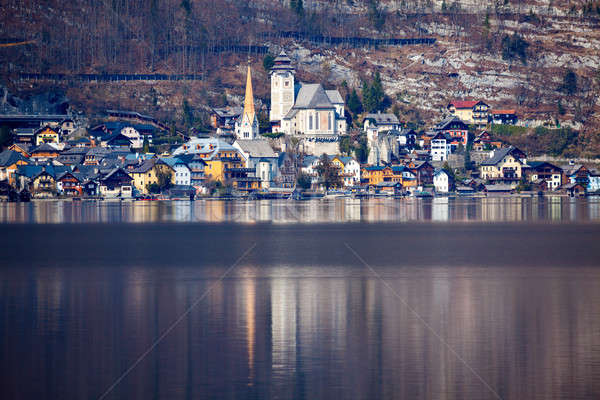 Panorama lago Áustria cidade paisagem igreja Foto stock © benkrut