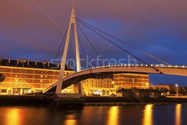 Peatonal puente centro normandía Francia agua Foto stock © benkrut