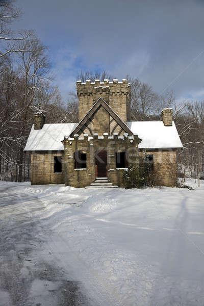 Castelo Ohio neve inverno pedra arquitetura Foto stock © benkrut