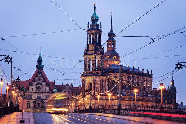 Dresden architecture from Augustus Bridge Stock photo © benkrut