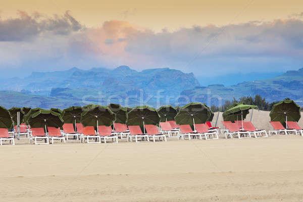 песок Канарские острова небе город океана Сток-фото © benkrut
