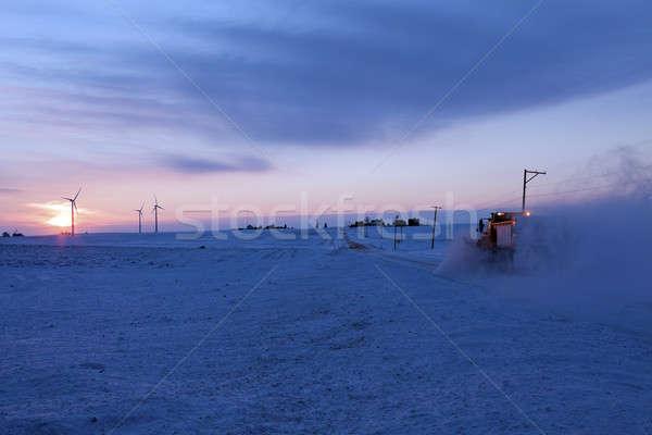 Kırsal Illinois kış zaman kar Stok fotoğraf © benkrut