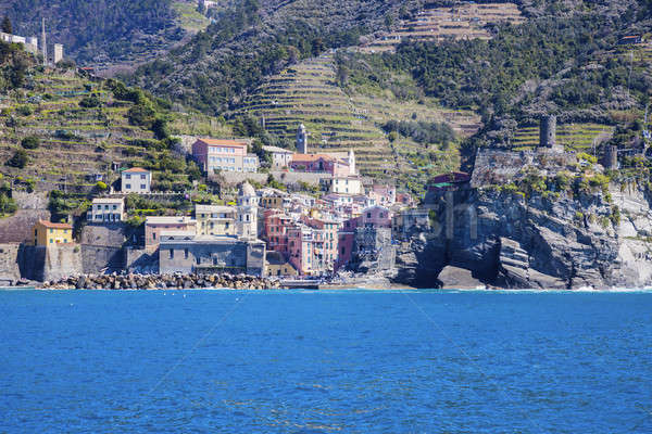 Vernazza architecture from the sea Stock photo © benkrut