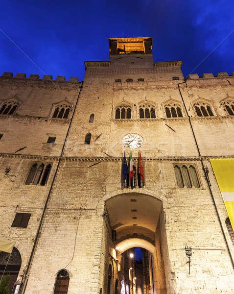 Architecture of Perugia at night Stock photo © benkrut