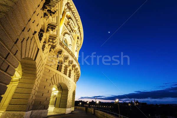 Zwitserland nacht stad straat Blauw reizen Stockfoto © benkrut