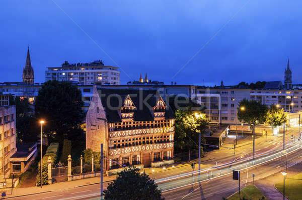 Panorama noite normandia França céu cidade Foto stock © benkrut