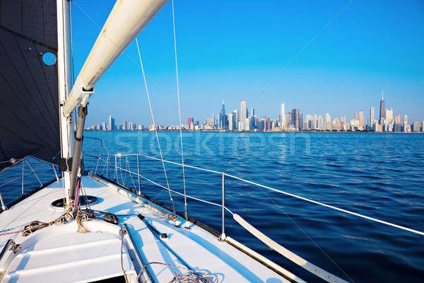 Voile Chicago ville centre-ville Voyage Skyline Photo stock © benkrut