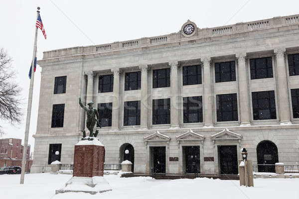 Snowing by Pettis County Courthouse in Sedalia Stock photo © benkrut