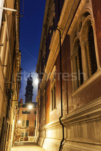 Pleine lune Venise rue lune église architecture Photo stock © benkrut