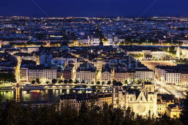 Lyon catedral edifício azul linha do horizonte Foto stock © benkrut