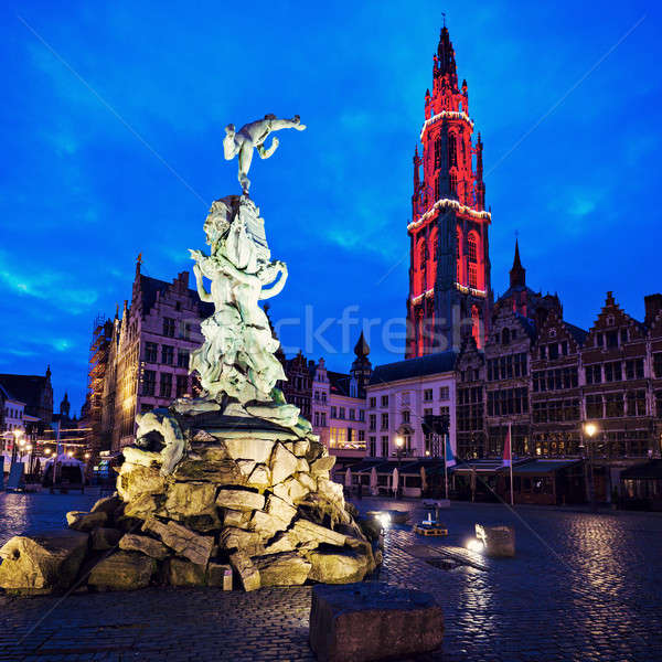 Brabo Fountain and Cathedral of Our Lady in Antwerp Stock photo © benkrut