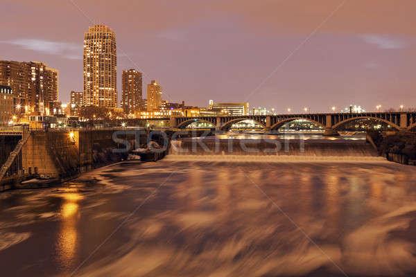 Mississipi Minnesota ABD gün batımı köprü gece Stok fotoğraf © benkrut
