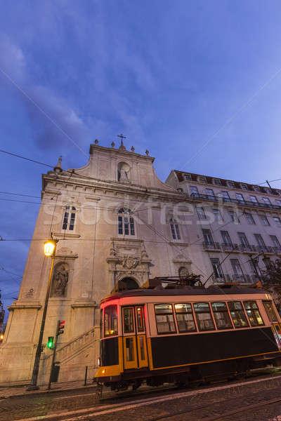 Iglesia tranvía ciudad viaje noche amanecer Foto stock © benkrut