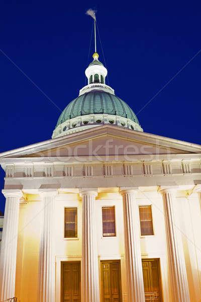 Foto stock: Velho · tribunal · Missouri · noite · tempo · linha · do · horizonte