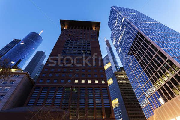 Moderne architectuur centrum Frankfurt hemel gebouw stad Stockfoto © benkrut