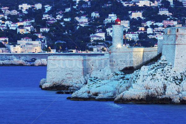 Marseille panorama and lighthouse on If island Stock photo © benkrut