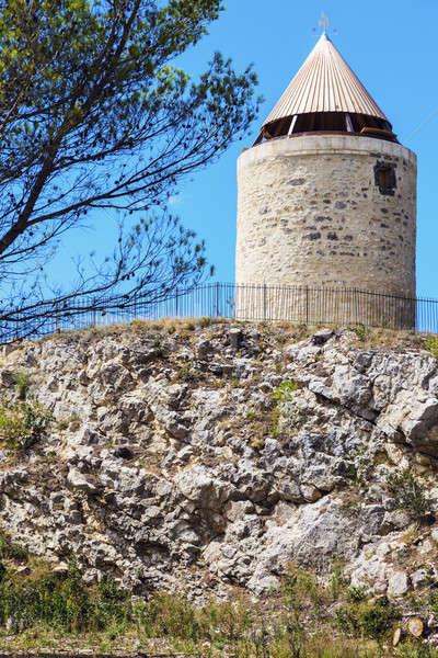Stok fotoğraf: Eski · değirmen · Bina · mavi · ufuk · çizgisi · panorama