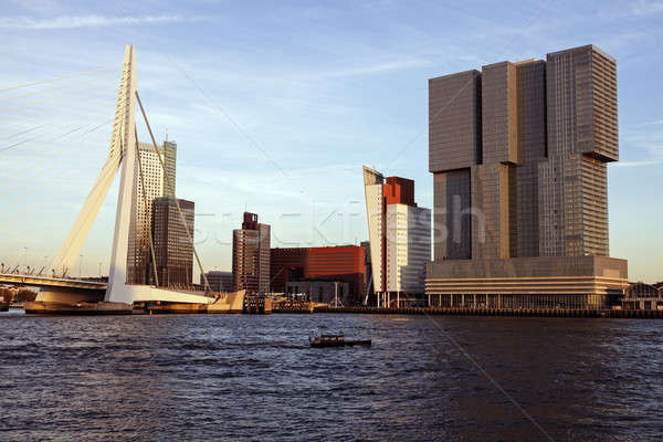 Rotterdam skyline with Erasmus Bridge Stock photo © benkrut